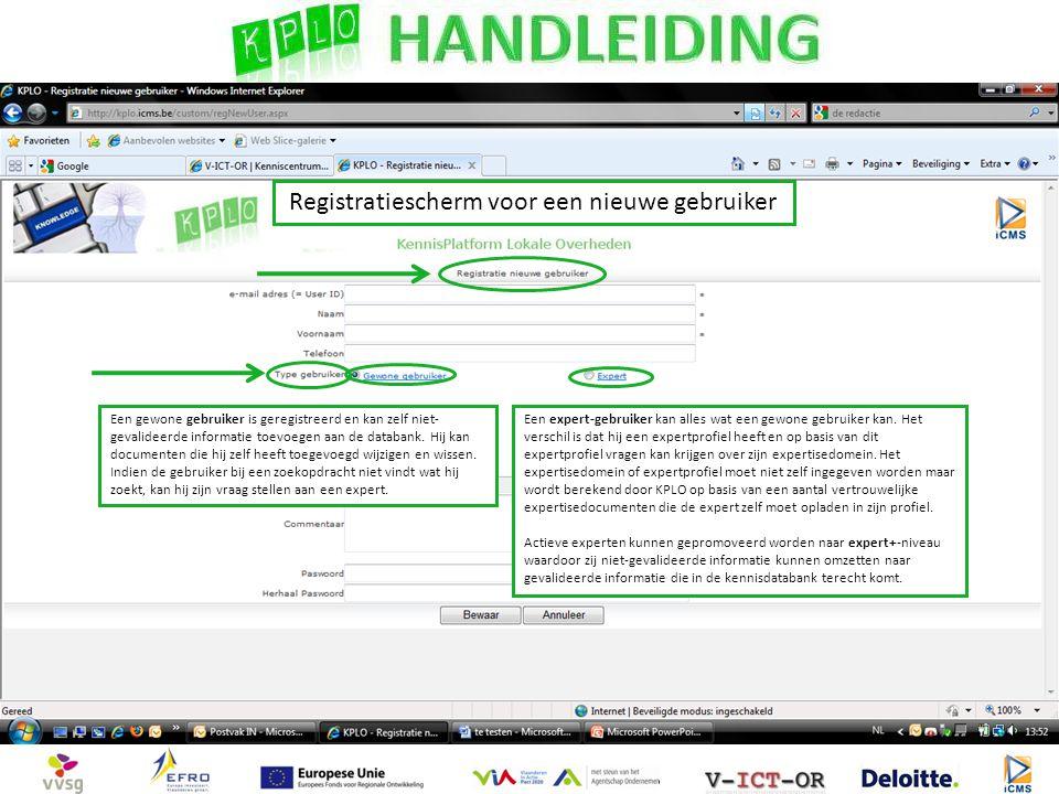 Een gewone gebruiker is geregistreerd en kan zelf niet- gevalideerde informatie toevoegen aan de databank.