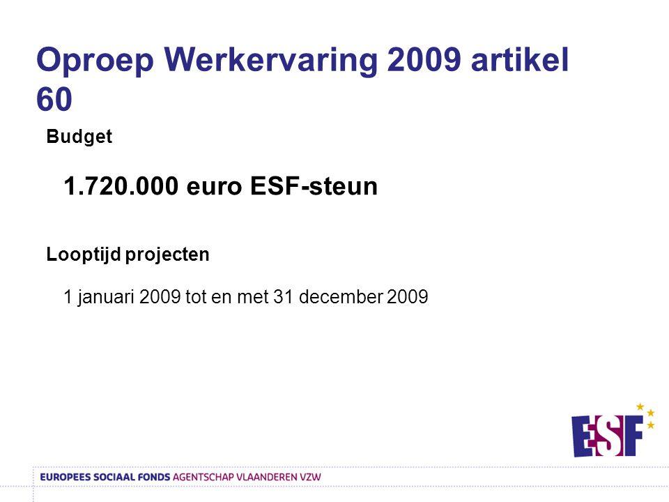 Oproep Werkervaring 2009 artikel 60 Budget 1.720.000 euro ESF-steun Looptijd projecten 1 januari 2009 tot en met 31 december 2009