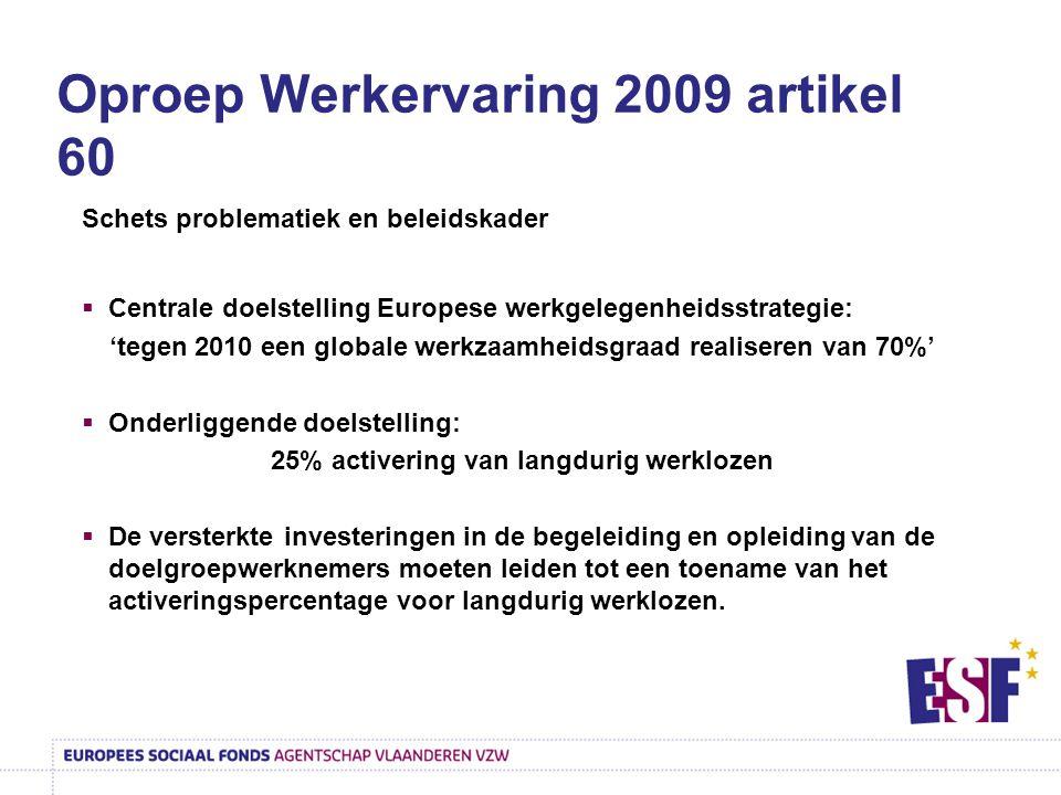 Oproep Werkervaring 2009 artikel 60 Schets problematiek en beleidskader  Centrale doelstelling Europese werkgelegenheidsstrategie: 'tegen 2010 een gl