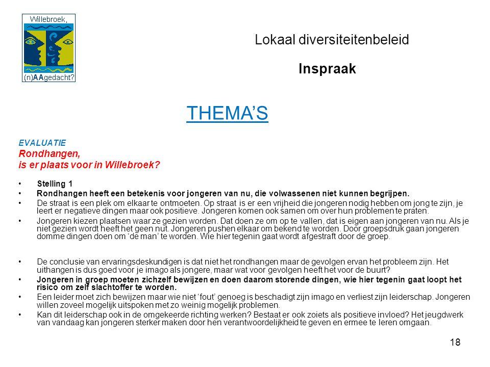 18 Lokaal diversiteitenbeleid EVALUATIE Rondhangen, is er plaats voor in Willebroek? Stelling 1 Rondhangen heeft een betekenis voor jongeren van nu, d