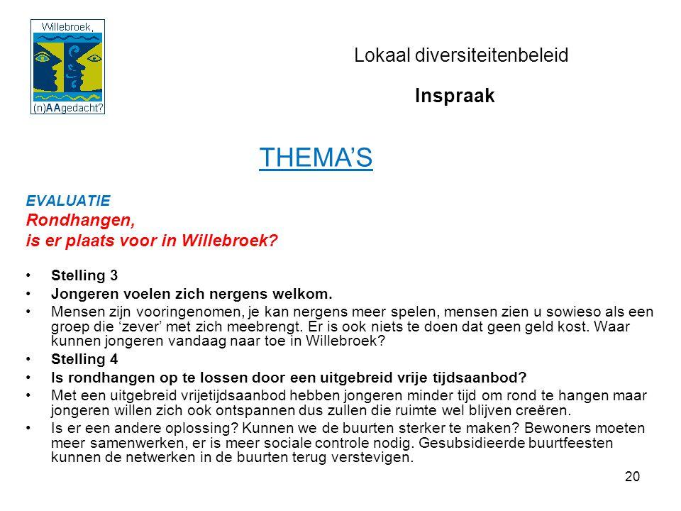 20 Lokaal diversiteitenbeleid EVALUATIE Rondhangen, is er plaats voor in Willebroek.