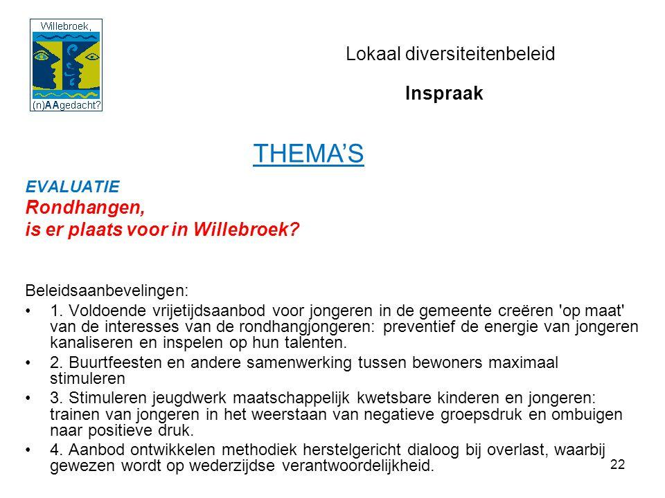 22 Lokaal diversiteitenbeleid EVALUATIE Rondhangen, is er plaats voor in Willebroek? Beleidsaanbevelingen: 1. Voldoende vrijetijdsaanbod voor jongeren
