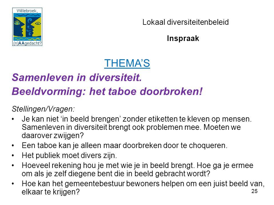 25 Lokaal diversiteitenbeleid Samenleven in diversiteit. Beeldvorming: het taboe doorbroken! Stellingen/Vragen: Je kan niet 'in beeld brengen' zonder