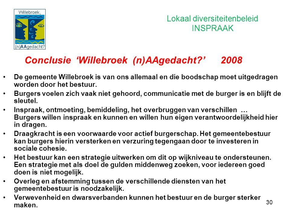 30 Conclusie 'Willebroek (n)AAgedacht?' 2008 De gemeente Willebroek is van ons allemaal en die boodschap moet uitgedragen worden door het bestuur. Bur