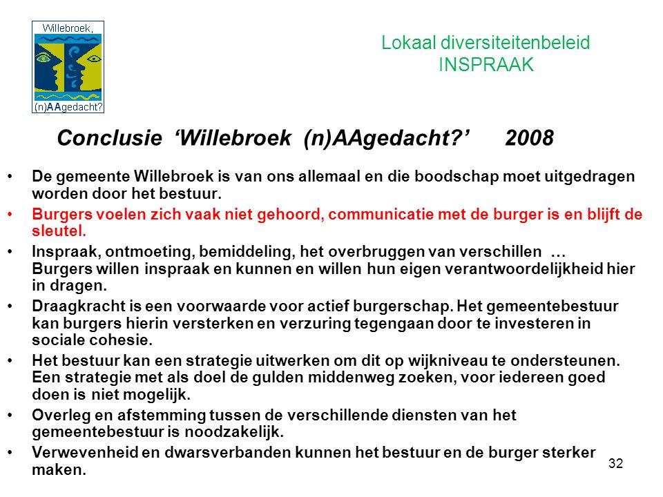 32 Conclusie 'Willebroek (n)AAgedacht?' 2008 De gemeente Willebroek is van ons allemaal en die boodschap moet uitgedragen worden door het bestuur. Bur