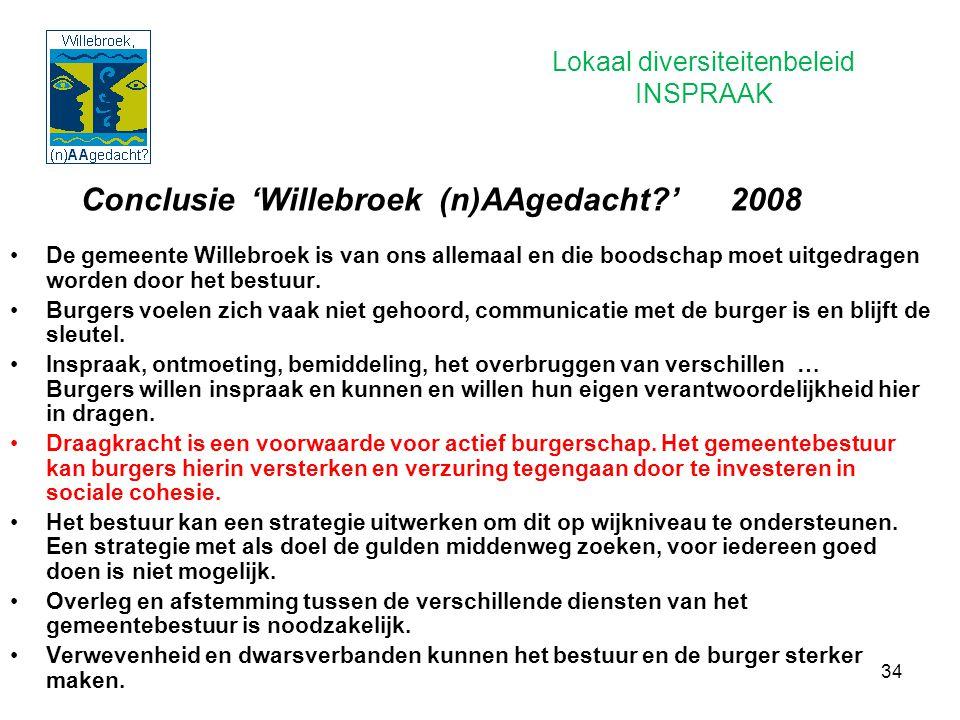 34 Conclusie 'Willebroek (n)AAgedacht?' 2008 De gemeente Willebroek is van ons allemaal en die boodschap moet uitgedragen worden door het bestuur. Bur