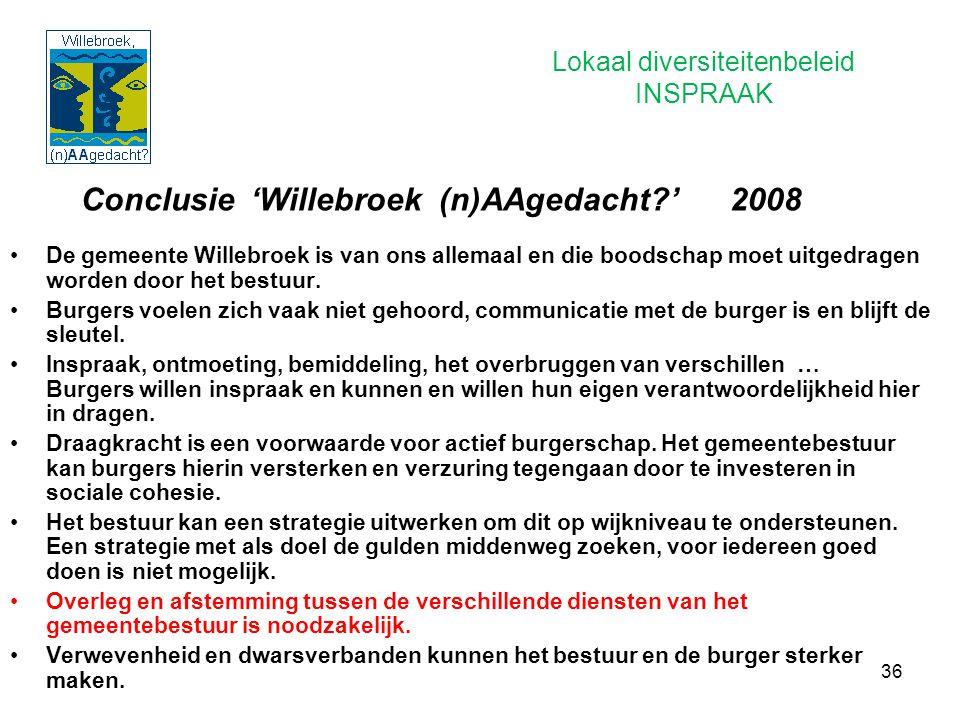 36 Conclusie 'Willebroek (n)AAgedacht?' 2008 De gemeente Willebroek is van ons allemaal en die boodschap moet uitgedragen worden door het bestuur. Bur