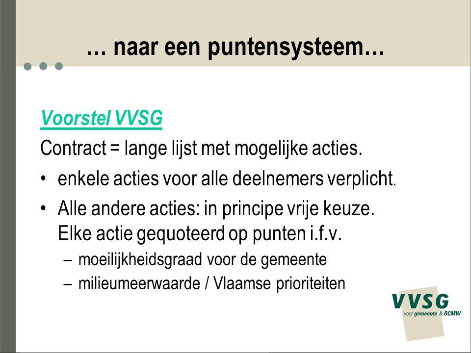 … naar een puntensysteem… Voorstel VVSG Contract = lange lijst met mogelijke acties. enkele acties voor alle deelnemers verplicht. Alle andere acties: