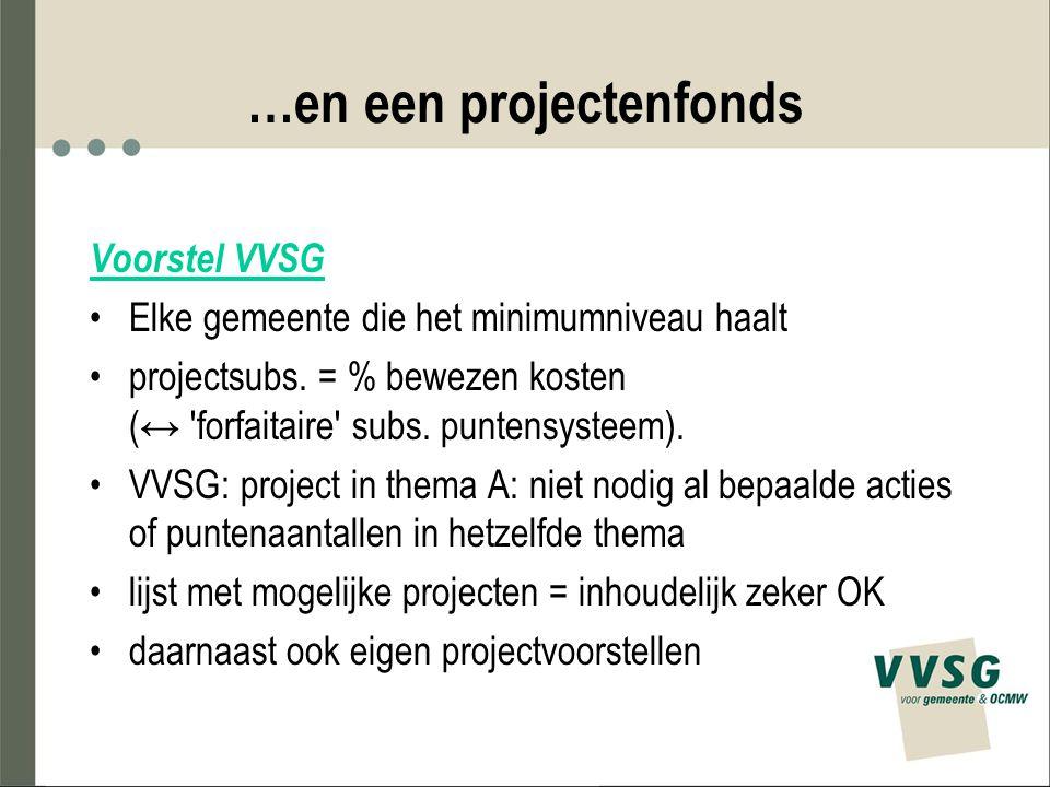 …en een projectenfonds Voorstel VVSG Elke gemeente die het minimumniveau haalt projectsubs. = % bewezen kosten (↔ 'forfaitaire' subs. puntensysteem).