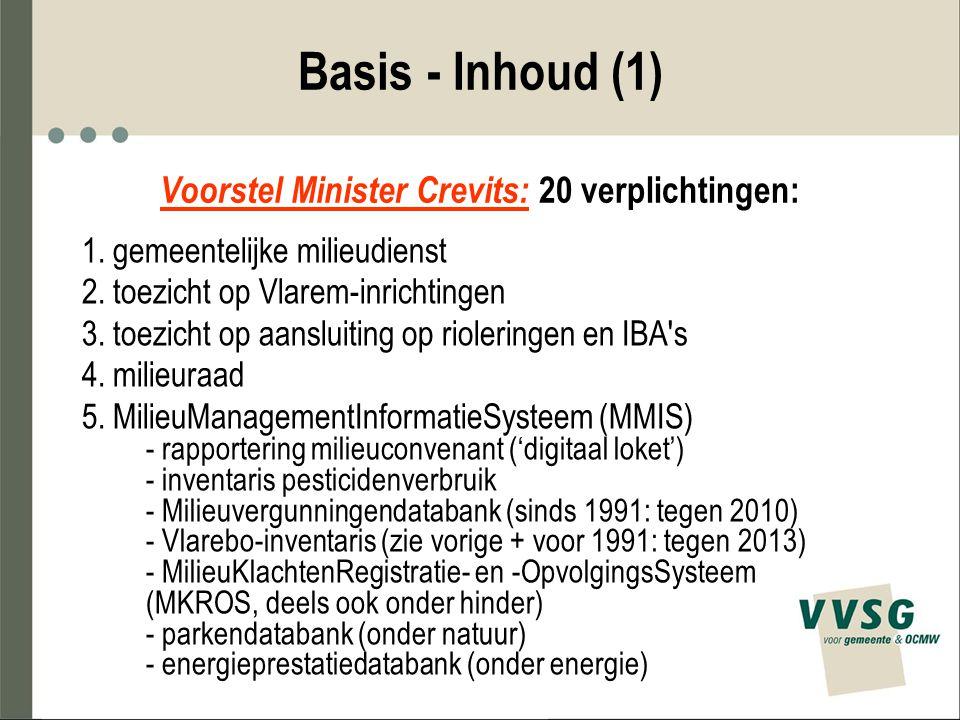 Basis - Inhoud (1) Voorstel Minister Crevits: 20 verplichtingen: 1. gemeentelijke milieudienst 2. toezicht op Vlarem-inrichtingen 3. toezicht op aansl