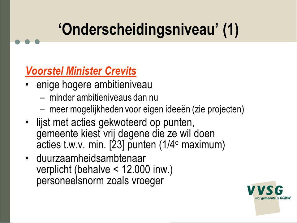 'Onderscheidingsniveau' (1) Voorstel Minister Crevits enige hogere ambitieniveau –minder ambitieniveaus dan nu –meer mogelijkheden voor eigen ideeën (