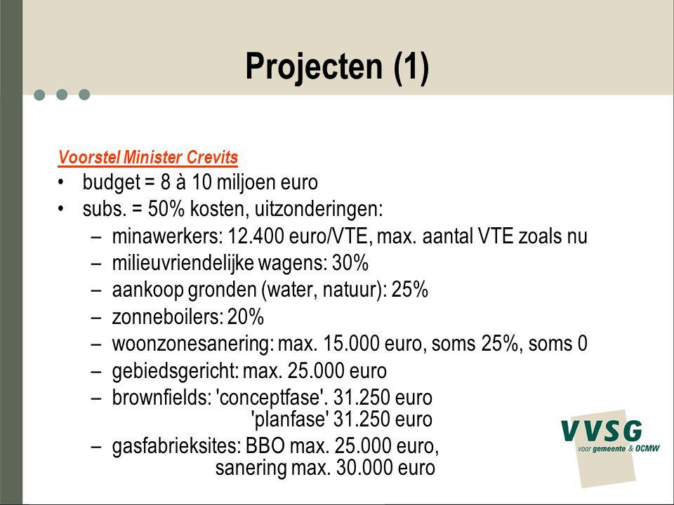 Projecten (1) Voorstel Minister Crevits budget = 8 à 10 miljoen euro subs. = 50% kosten, uitzonderingen: –minawerkers: 12.400 euro/VTE, max. aantal VT