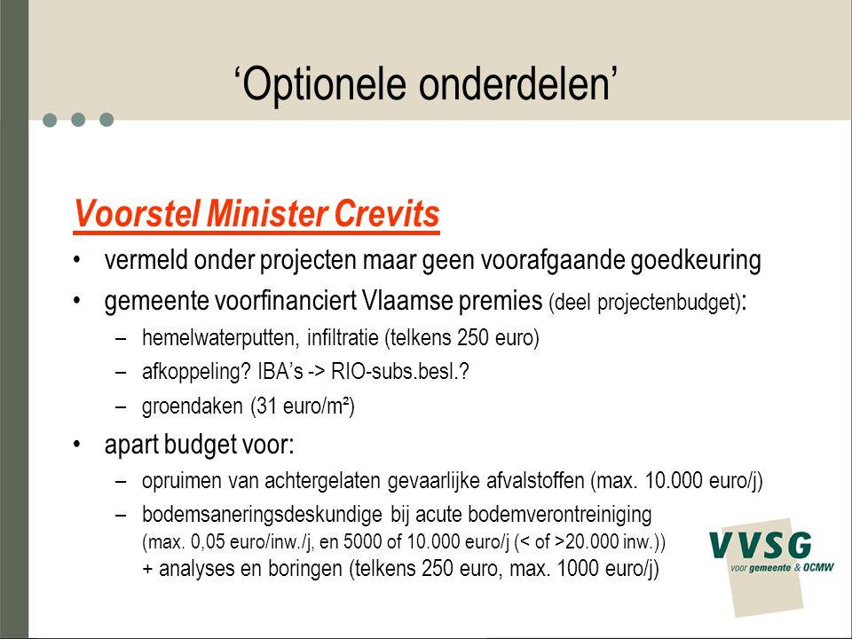 'Optionele onderdelen' Voorstel Minister Crevits vermeld onder projecten maar geen voorafgaande goedkeuring gemeente voorfinanciert Vlaamse premies (deel projectenbudget) : –hemelwaterputten, infiltratie (telkens 250 euro) –afkoppeling.