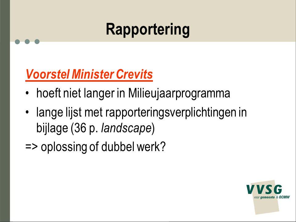 Rapportering Voorstel Minister Crevits hoeft niet langer in Milieujaarprogramma lange lijst met rapporteringsverplichtingen in bijlage (36 p. landscap