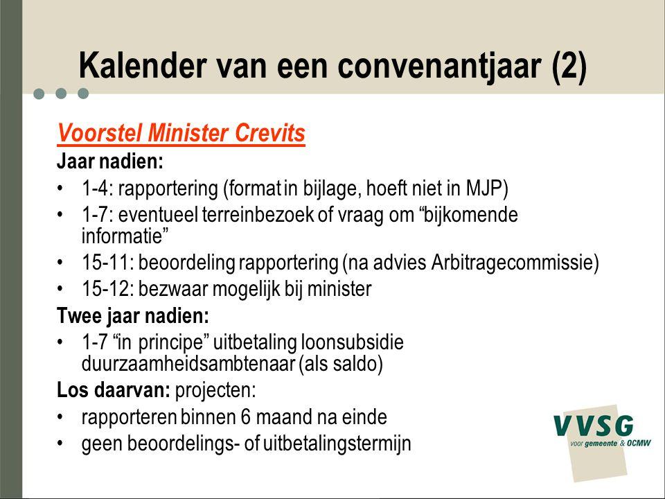 Kalender van een convenantjaar (2) Voorstel Minister Crevits Jaar nadien: 1-4: rapportering (format in bijlage, hoeft niet in MJP) 1-7: eventueel terr
