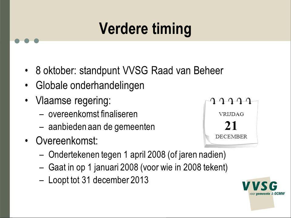 Verdere timing 8 oktober: standpunt VVSG Raad van Beheer Globale onderhandelingen Vlaamse regering: –overeenkomst finaliseren –aanbieden aan de gemeen