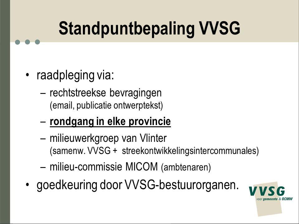 Standpuntbepaling VVSG raadpleging via: –rechtstreekse bevragingen (email, publicatie ontwerptekst) – rondgang in elke provincie –milieuwerkgroep van Vlinter (samenw.