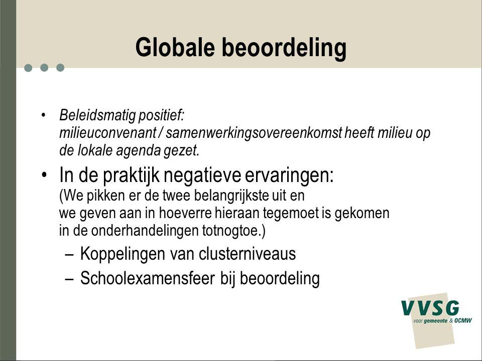 Globale beoordeling Beleidsmatig positief: milieuconvenant / samenwerkingsovereenkomst heeft milieu op de lokale agenda gezet. In de praktijk negatiev