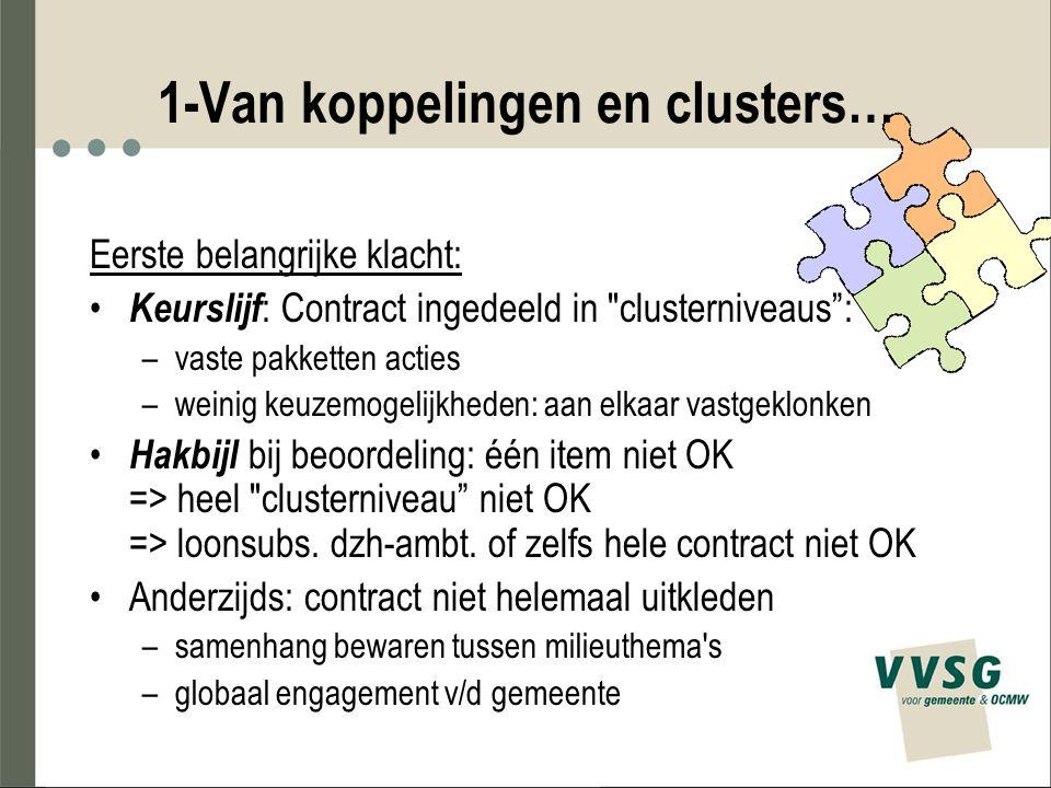 1-Van koppelingen en clusters… Eerste belangrijke klacht: Keurslijf : Contract ingedeeld in