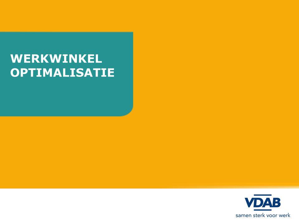 Werkwinkel uitgebreid aanbod Werkwinkel dagelijks open Dienstverlening op afspraak / overgangsfase / uitdovend Sluiting in 2013 Vestigingsoptimalisatie werkwinkels Antwerpen
