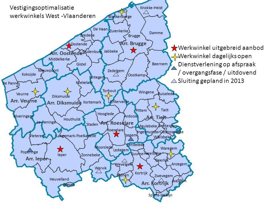Werkwinkel uitgebreid aanbod Werkwinkel dagelijks open Dienstverlening op afspraak / overgangsfase / uitdovend Sluiting gepland in 2013 Vestigingsoptimalisatie werkwinkels West -Vlaanderen