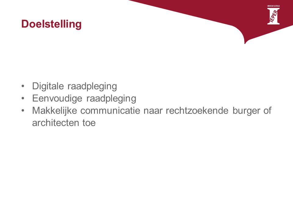 Doelstelling Digitale raadpleging Eenvoudige raadpleging Makkelijke communicatie naar rechtzoekende burger of architecten toe