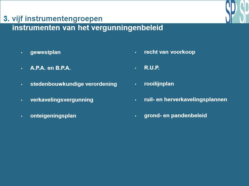 3. vijf instrumentengroepen instrumenten van het vergunningenbeleid gewestplan A.P.A.