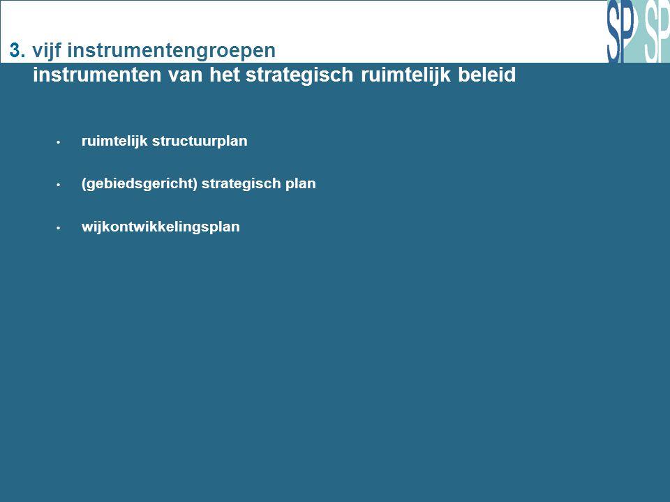 3. vijf instrumentengroepen instrumenten van het strategisch ruimtelijk beleid ruimtelijk structuurplan (gebiedsgericht) strategisch plan wijkontwikke