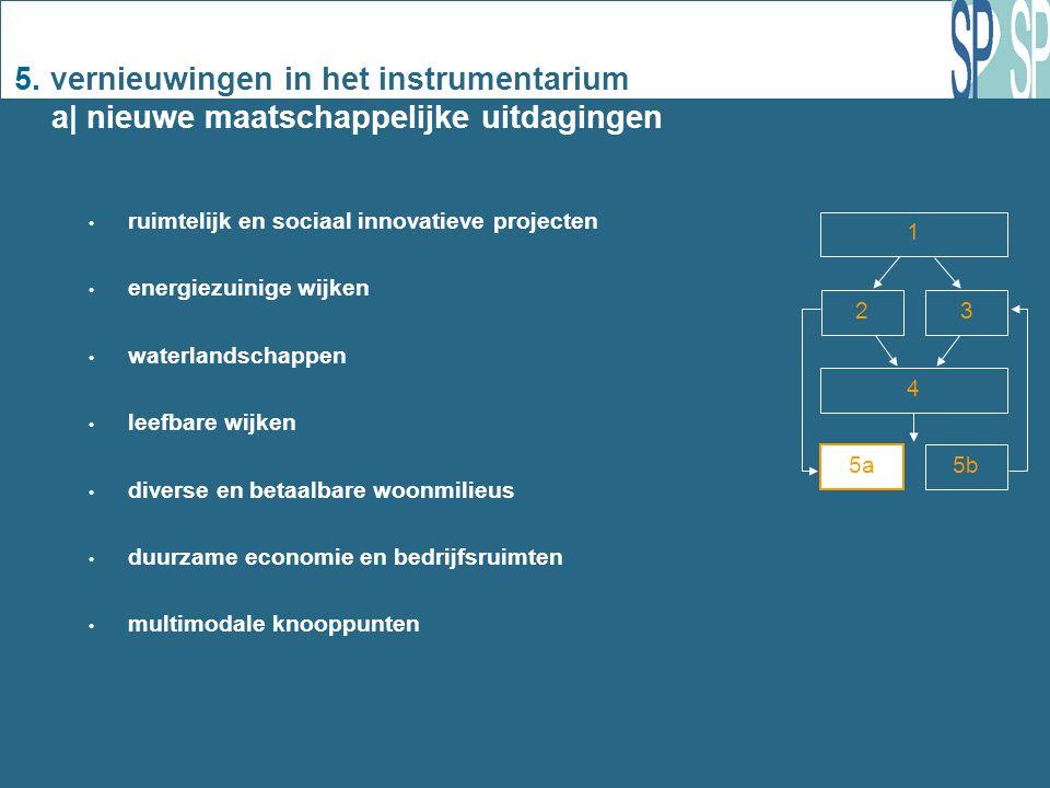 5. vernieuwingen in het instrumentarium a| nieuwe maatschappelijke uitdagingen ruimtelijk en sociaal innovatieve projecten energiezuinige wijken water