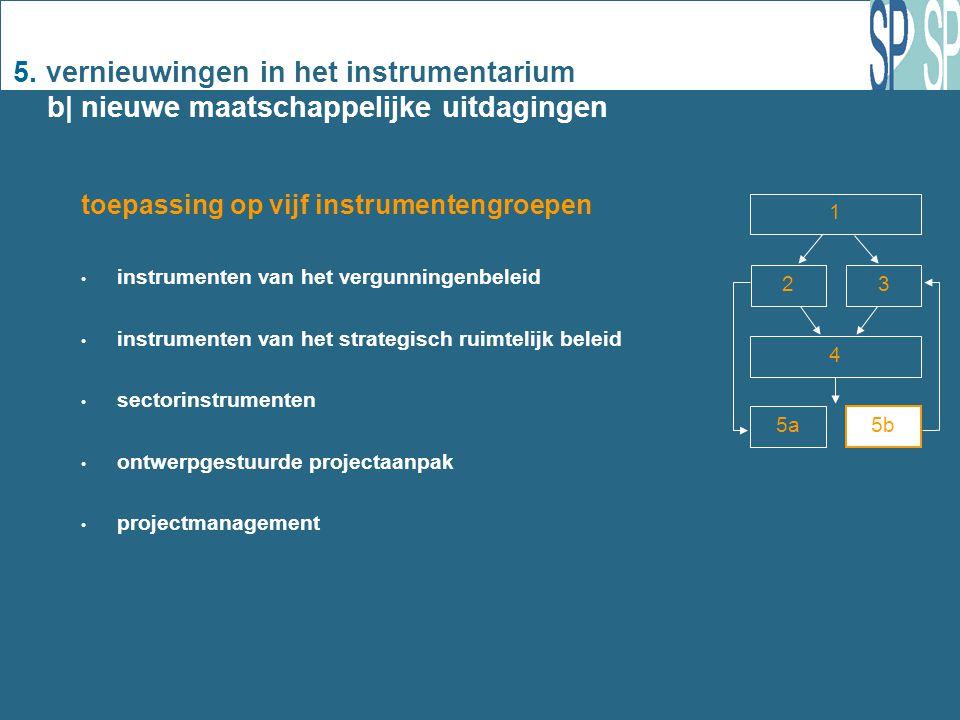 5. vernieuwingen in het instrumentarium b| nieuwe maatschappelijke uitdagingen 1 2 3 4 5a 5b toepassing op vijf instrumentengroepen instrumenten van h