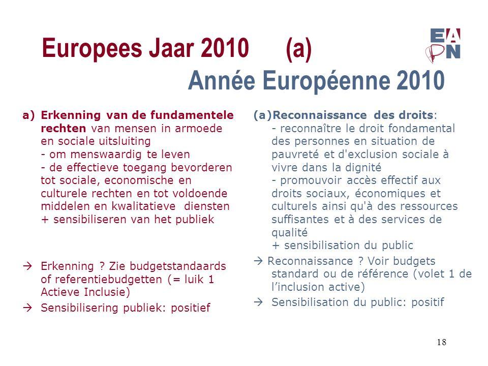 Europees Jaar 2010(a) Année Européenne 2010 a)Erkenning van de fundamentele rechten van mensen in armoede en sociale uitsluiting - om menswaardig te leven - de effectieve toegang bevorderen tot sociale, economische en culturele rechten en tot voldoende middelen en kwalitatieve diensten + sensibiliseren van het publiek  Erkenning .