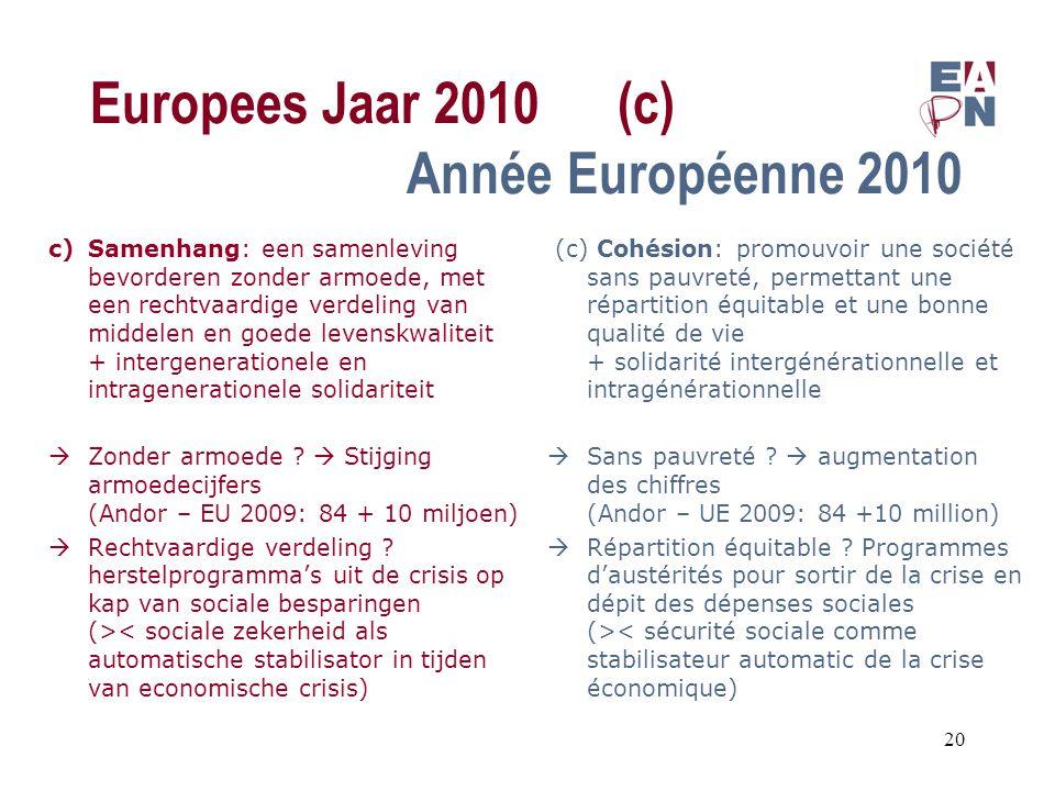 Europees Jaar 2010(c) Année Européenne 2010 c)Samenhang: een samenleving bevorderen zonder armoede, met een rechtvaardige verdeling van middelen en goede levenskwaliteit + intergenerationele en intragenerationele solidariteit  Zonder armoede .