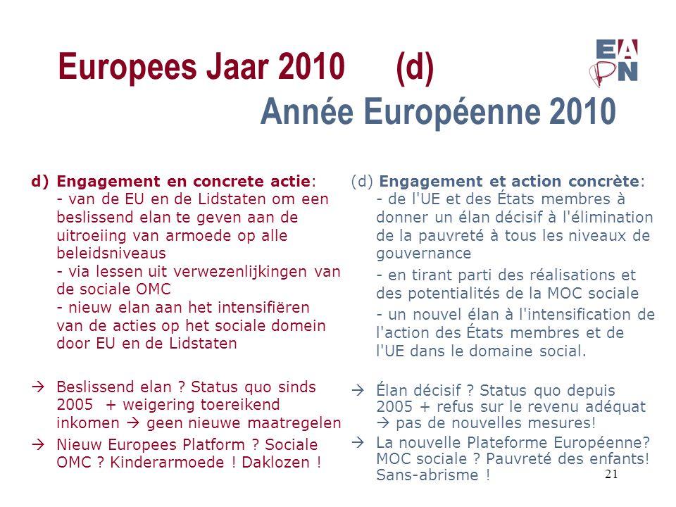 Europees Jaar 2010(d) Année Européenne 2010 d)Engagement en concrete actie: - van de EU en de Lidstaten om een beslissend elan te geven aan de uitroeiing van armoede op alle beleidsniveaus - via lessen uit verwezenlijkingen van de sociale OMC - nieuw elan aan het intensifiëren van de acties op het sociale domein door EU en de Lidstaten  Beslissend elan .