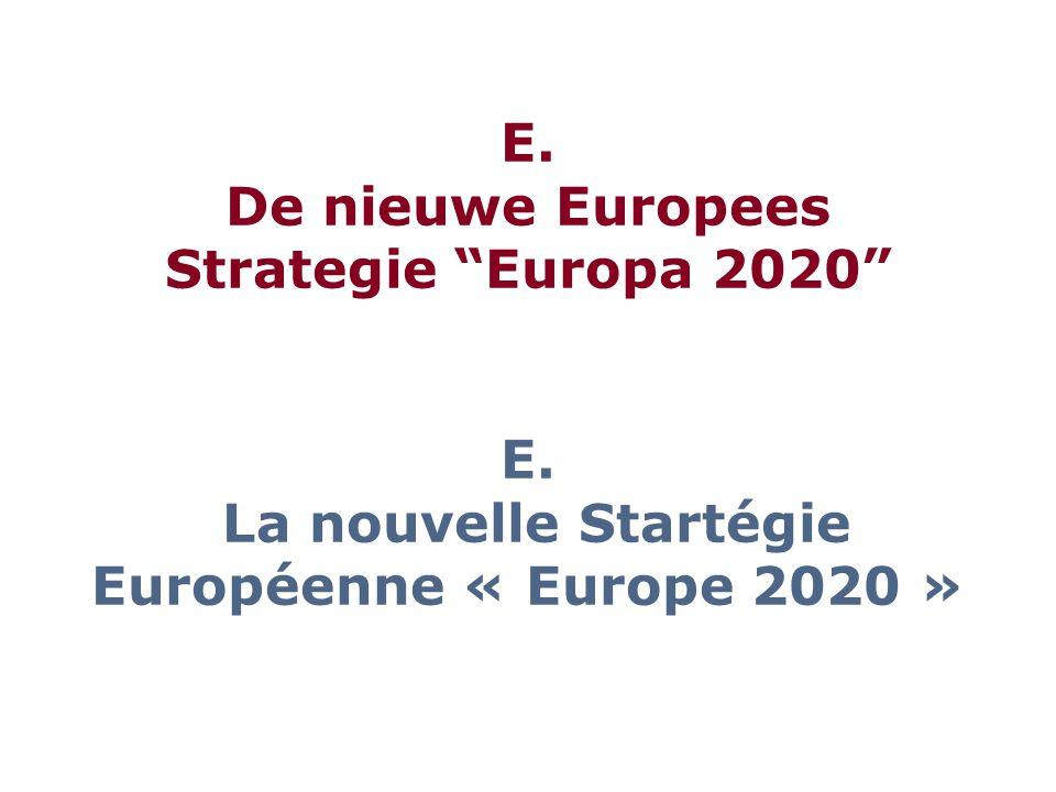 E. De nieuwe Europees Strategie Europa 2020 E. La nouvelle Startégie Européenne « Europe 2020 »