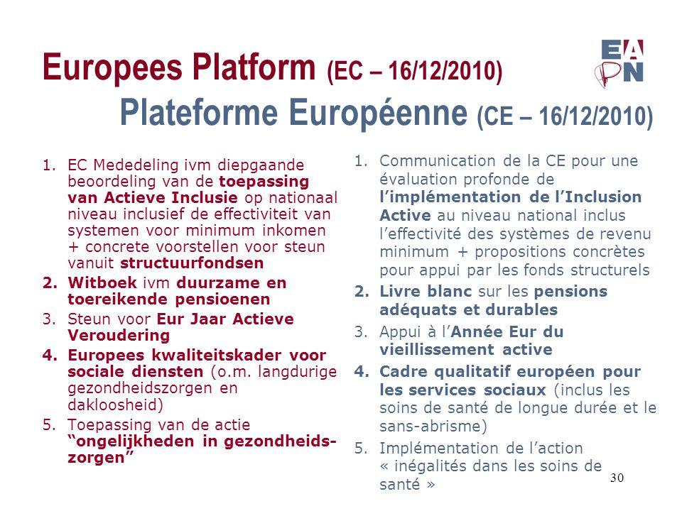 Europees Platform (EC – 16/12/2010) Plateforme Européenne (CE – 16/12/2010) 1.EC Mededeling ivm diepgaande beoordeling van de toepassing van Actieve Inclusie op nationaal niveau inclusief de effectiviteit van systemen voor minimum inkomen + concrete voorstellen voor steun vanuit structuurfondsen 2.Witboek ivm duurzame en toereikende pensioenen 3.Steun voor Eur Jaar Actieve Veroudering 4.Europees kwaliteitskader voor sociale diensten (o.m.
