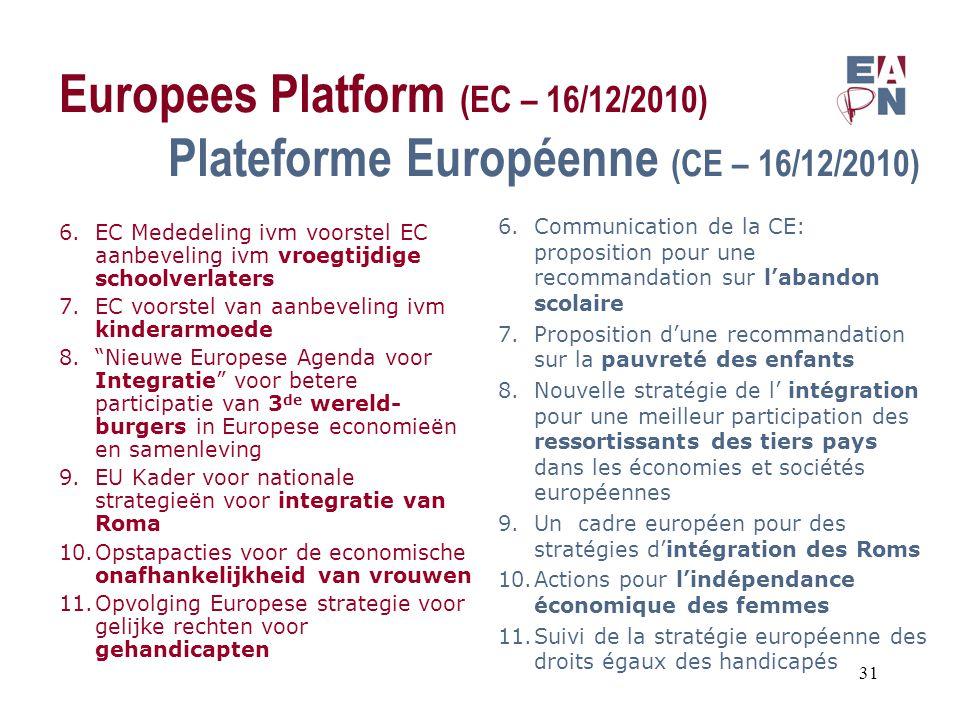 Europees Platform (EC – 16/12/2010) Plateforme Européenne (CE – 16/12/2010) 6.EC Mededeling ivm voorstel EC aanbeveling ivm vroegtijdige schoolverlaters 7.EC voorstel van aanbeveling ivm kinderarmoede 8. Nieuwe Europese Agenda voor Integratie voor betere participatie van 3 de wereld- burgers in Europese economieën en samenleving 9.EU Kader voor nationale strategieën voor integratie van Roma 10.Opstapacties voor de economische onafhankelijkheid van vrouwen 11.Opvolging Europese strategie voor gelijke rechten voor gehandicapten 6.Communication de la CE: proposition pour une recommandation sur l'abandon scolaire 7.Proposition d'une recommandation sur la pauvreté des enfants 8.Nouvelle stratégie de l' intégration pour une meilleur participation des ressortissants des tiers pays dans les économies et sociétés européennes 9.Un cadre européen pour des stratégies d'intégration des Roms 10.Actions pour l'indépendance économique des femmes 11.Suivi de la stratégie européenne des droits égaux des handicapés 31