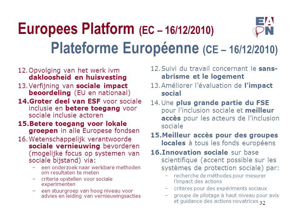 Europees Platform (EC – 16/12/2010) Plateforme Européenne (CE – 16/12/2010) 12.Opvolging van het werk ivm dakloosheid en huisvesting 13.Verfijning van sociale impact beoordeling (EU en nationaal) 14.Groter deel van ESF voor sociale inclusie en betere toegang voor sociale inclusie actoren 15.Betere toegang voor lokale groepen in alle Europese fondsen 16.Wetenschappelijk verantwoorde sociale vernieuwing bevorderen (mogelijke focus op systemen van sociale bijstand) via: –een onderzoek naar werkbare methoden om resultaten te meten –criteria opstellen voor sociale experimenten –een stuurgroep van hoog niveau voor advies en leiding van vernieuwingsacties 12.Suivi du travail concernant le sans- abrisme et le logement 13.Améliorer l'évaluation de l'impact social 14.Une plus grande partie du FSE pour l'inclusion sociale et meilleur accès pour les acteurs de l'inclusion sociale 15.Meilleur accès pour des groupes locales à tous les fonds européens 16.Innovation sociale sur base scientifique (accent possible sur les systèmes de protection sociale) par: –recherche de méthodes pour mesurer l'impact des actions –critères pour des expériments sociaux –groupe de pilotage à haut niveau pour avis et guidance des actions novatrices 32