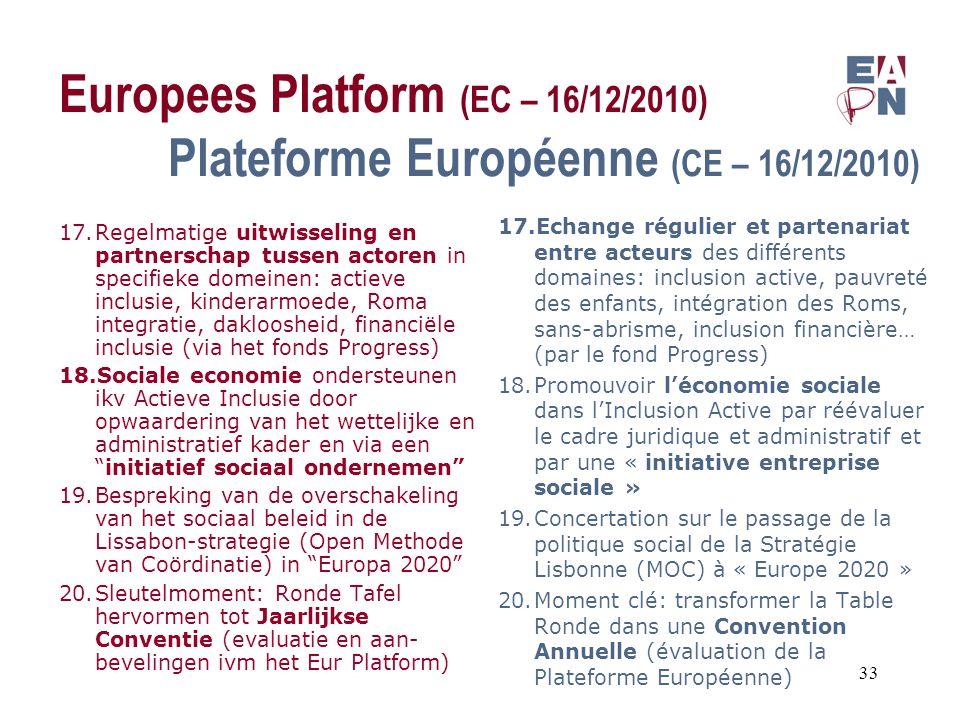 Europees Platform (EC – 16/12/2010) Plateforme Européenne (CE – 16/12/2010) 17.Regelmatige uitwisseling en partnerschap tussen actoren in specifieke domeinen: actieve inclusie, kinderarmoede, Roma integratie, dakloosheid, financiële inclusie (via het fonds Progress) 18.Sociale economie ondersteunen ikv Actieve Inclusie door opwaardering van het wettelijke en administratief kader en via een initiatief sociaal ondernemen 19.Bespreking van de overschakeling van het sociaal beleid in de Lissabon-strategie (Open Methode van Coördinatie) in Europa 2020 20.Sleutelmoment: Ronde Tafel hervormen tot Jaarlijkse Conventie (evaluatie en aan- bevelingen ivm het Eur Platform) 17.Echange régulier et partenariat entre acteurs des différents domaines: inclusion active, pauvreté des enfants, intégration des Roms, sans-abrisme, inclusion financière… (par le fond Progress) 18.Promouvoir l'économie sociale dans l'Inclusion Active par réévaluer le cadre juridique et administratif et par une « initiative entreprise sociale » 19.Concertation sur le passage de la politique social de la Stratégie Lisbonne (MOC) à « Europe 2020 » 20.Moment clé: transformer la Table Ronde dans une Convention Annuelle (évaluation de la Plateforme Européenne) 33