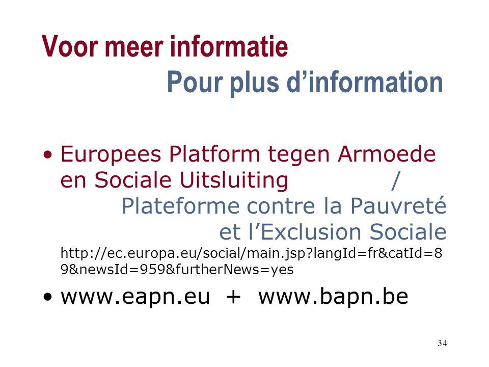 Voor meer informatie Pour plus d'information Europees Platform tegen Armoede en Sociale Uitsluiting / Plateforme contre la Pauvreté et l'Exclusion Sociale http://ec.europa.eu/social/main.jsp?langId=fr&catId=8 9&newsId=959&furtherNews=yes www.eapn.eu + www.bapn.be 34