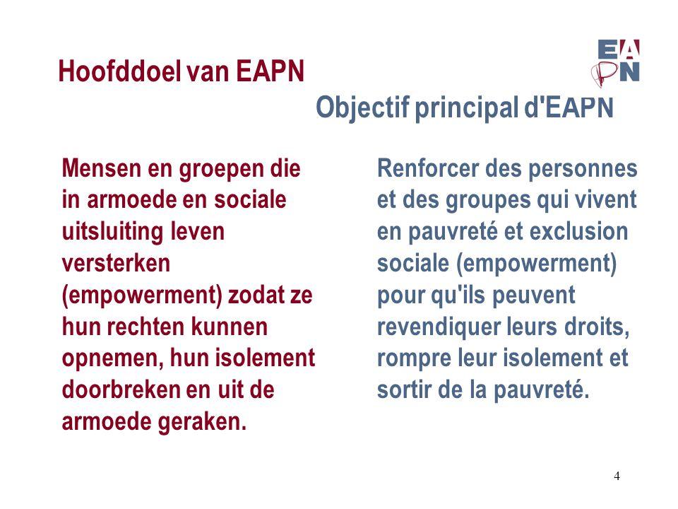 Hoofddoel van EAPN Objectif principal d EAPN Mensen en groepen die in armoede en sociale uitsluiting leven versterken (empowerment) zodat ze hun rechten kunnen opnemen, hun isolement doorbreken en uit de armoede geraken.