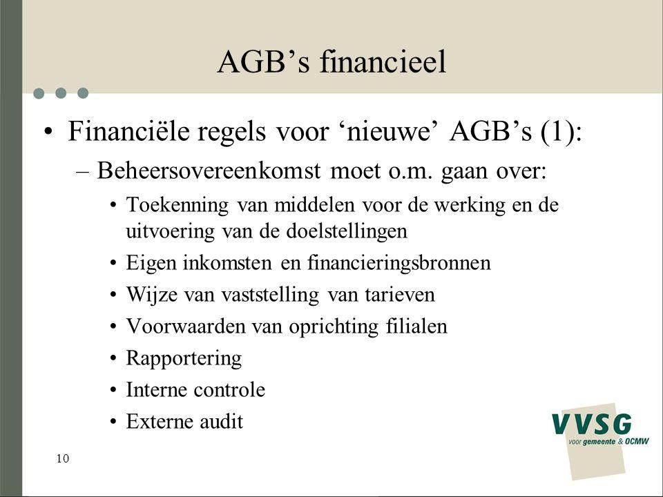 10 AGB's financieel Financiële regels voor 'nieuwe' AGB's (1): –Beheersovereenkomst moet o.m.