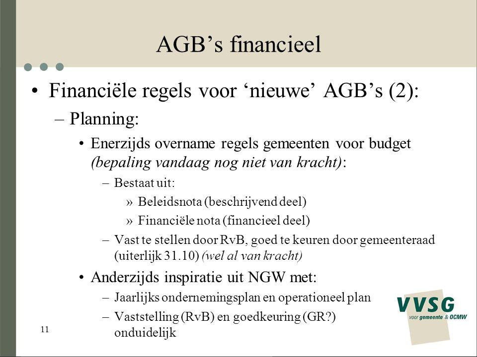 11 AGB's financieel Financiële regels voor 'nieuwe' AGB's (2): –Planning: Enerzijds overname regels gemeenten voor budget (bepaling vandaag nog niet van kracht): –Bestaat uit: »Beleidsnota (beschrijvend deel) »Financiële nota (financieel deel) –Vast te stellen door RvB, goed te keuren door gemeenteraad (uiterlijk 31.10) (wel al van kracht) Anderzijds inspiratie uit NGW met: –Jaarlijks ondernemingsplan en operationeel plan –Vaststelling (RvB) en goedkeuring (GR?) onduidelijk