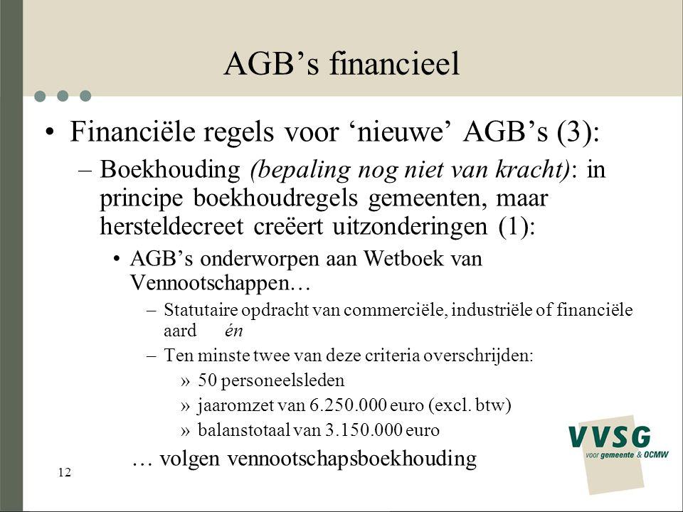 12 AGB's financieel Financiële regels voor 'nieuwe' AGB's (3): –Boekhouding (bepaling nog niet van kracht): in principe boekhoudregels gemeenten, maar hersteldecreet creëert uitzonderingen (1): AGB's onderworpen aan Wetboek van Vennootschappen… –Statutaire opdracht van commerciële, industriële of financiële aard én –Ten minste twee van deze criteria overschrijden: »50 personeelsleden »jaaromzet van 6.250.000 euro (excl.