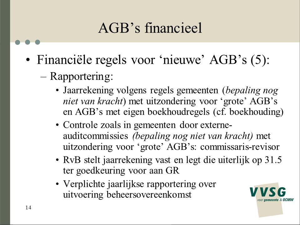 14 AGB's financieel Financiële regels voor 'nieuwe' AGB's (5): –Rapportering: Jaarrekening volgens regels gemeenten (bepaling nog niet van kracht) met uitzondering voor 'grote' AGB's en AGB's met eigen boekhoudregels (cf.