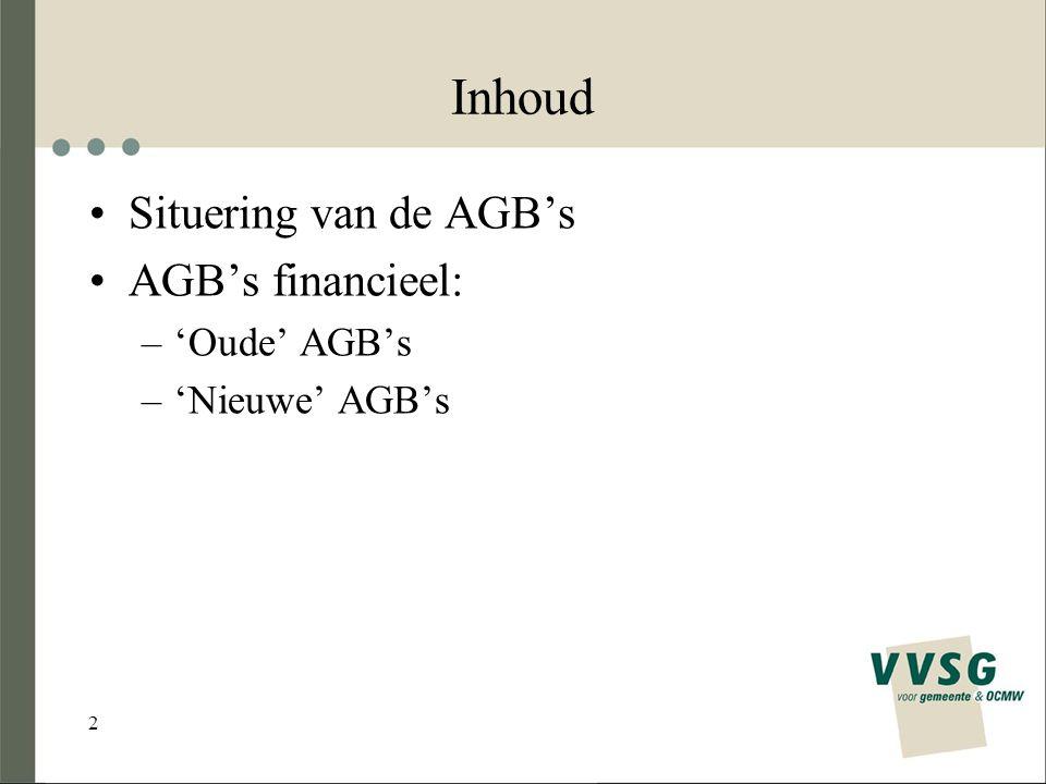 2 Inhoud Situering van de AGB's AGB's financieel: –'Oude' AGB's –'Nieuwe' AGB's