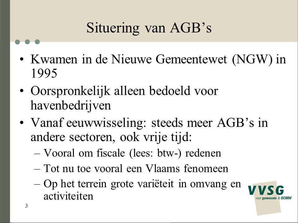 3 Situering van AGB's Kwamen in de Nieuwe Gemeentewet (NGW) in 1995 Oorspronkelijk alleen bedoeld voor havenbedrijven Vanaf eeuwwisseling: steeds meer AGB's in andere sectoren, ook vrije tijd: –Vooral om fiscale (lees: btw-) redenen –Tot nu toe vooral een Vlaams fenomeen –Op het terrein grote variëteit in omvang en activiteiten