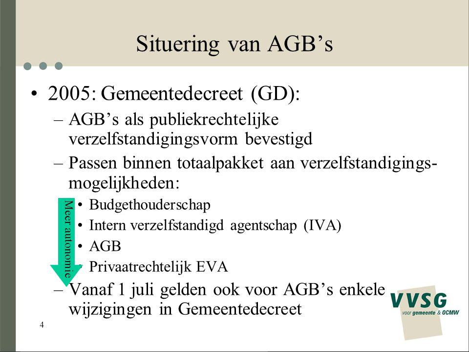 4 Situering van AGB's 2005: Gemeentedecreet (GD): –AGB's als publiekrechtelijke verzelfstandigingsvorm bevestigd –Passen binnen totaalpakket aan verzelfstandigings- mogelijkheden: Budgethouderschap Intern verzelfstandigd agentschap (IVA) AGB Privaatrechtelijk EVA –Vanaf 1 juli gelden ook voor AGB's enkele wijzigingen in Gemeentedecreet Meer autonomie