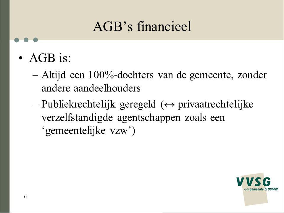 6 AGB's financieel AGB is: –Altijd een 100%-dochters van de gemeente, zonder andere aandeelhouders –Publiekrechtelijk geregeld (↔ privaatrechtelijke verzelfstandigde agentschappen zoals een 'gemeentelijke vzw')