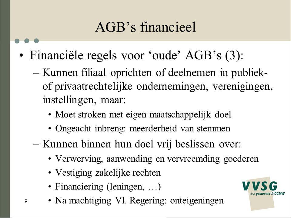 9 AGB's financieel Financiële regels voor 'oude' AGB's (3): –Kunnen filiaal oprichten of deelnemen in publiek- of privaatrechtelijke ondernemingen, verenigingen, instellingen, maar: Moet stroken met eigen maatschappelijk doel Ongeacht inbreng: meerderheid van stemmen –Kunnen binnen hun doel vrij beslissen over: Verwerving, aanwending en vervreemding goederen Vestiging zakelijke rechten Financiering (leningen, …) Na machtiging Vl.