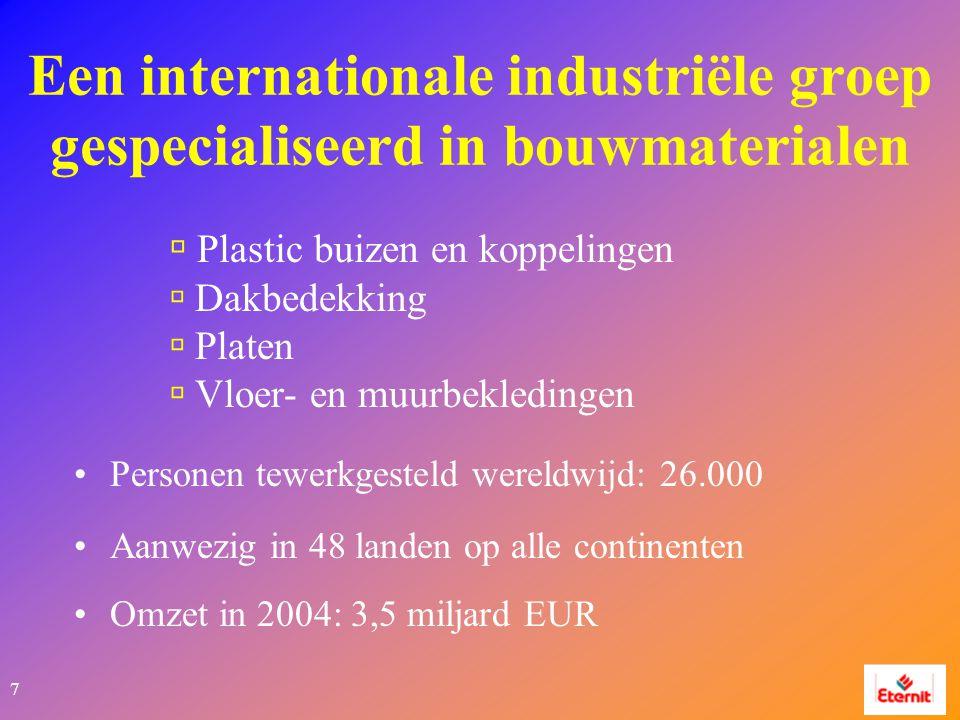 7 Een internationale industriële groep gespecialiseerd in bouwmaterialen  Plastic buizen en koppelingen  Dakbedekking  Platen  Vloer- en muurbekledingen Personen tewerkgesteld wereldwijd: 26.000 Aanwezig in 48 landen op alle continenten Omzet in 2004: 3,5 miljard EUR